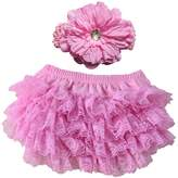 Wennikids Lace Ruffle Diaper Cover Bloomer and Headband SET for Baby Girls Large