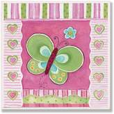 Stupell Industries The Kids Room by Stupell Green Butterfly with Stripes and Hearts Square Wall Plaque