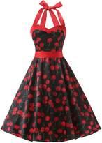 Dresstells® Halter 1950s Vintage Audrey Dress Polka Dots Retro Cocktail Dress XL