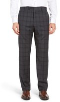 Zanella Men's Flat Front Plaid Wool Trousers