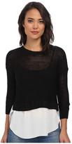 Brigitte Bailey Sweater w/ Woven Blouse Bottom