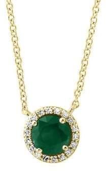 Effy 14K Yellow Gold, Diamond & Emerald Mini Pendant Necklace