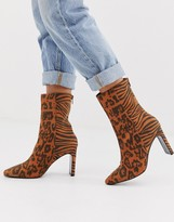 Asos Design DESIGN Eleanor high ankle boots in animal mix