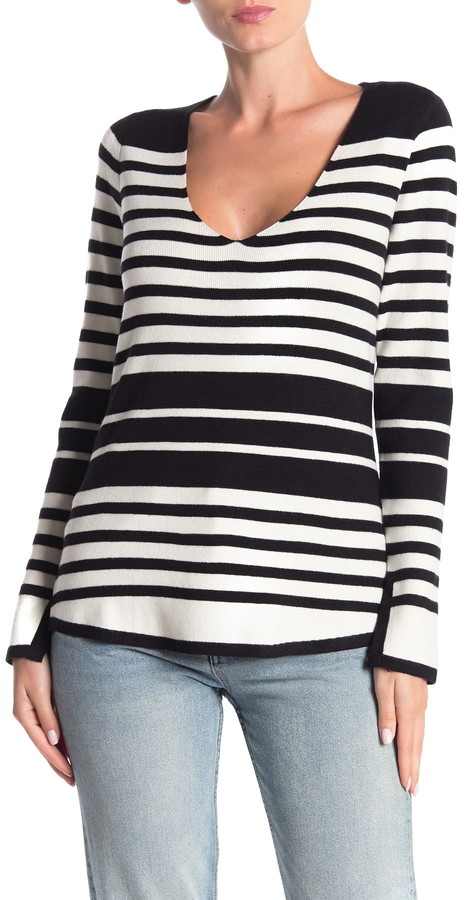 Cyrus Striped V-Neck Pullover Sweater