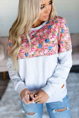 Ampersand Avenue Floral Accent Pullover - Pink & Grey