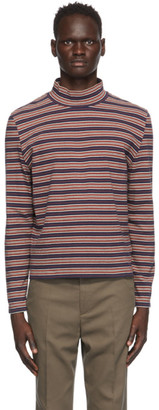 Our Legacy Navy and Burgundy Artist Polo Turtleneck