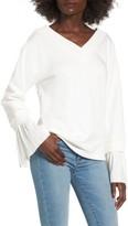 J.o.a. Women's Ruffle Cuff Sweatshirt