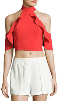 Alice + Olivia Cabot Cold-Shoulder Ruffle Crop Top