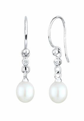 Diamore Women's 925 Sterling Silver Xilion Cut Drop Chinese Freshwater Cultured Diamond Dangle & Drop Earrings