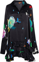 Cynthia Rowley Charmeuse floral shirt dress