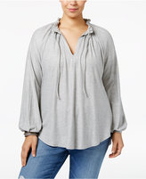 Melissa McCarthy Trendy Plus Size Ruffled Peasant Top