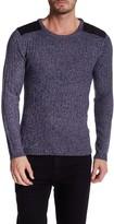 Yoki Faux Suede Shoulder Patch Sweater