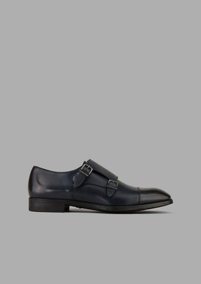 Giorgio Armani Monk Straps In Smooth Calfskin With Toe-Cap Stitching