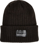 Yohji Yamamoto Men's English-Rib-Knit Beanie-BLACK