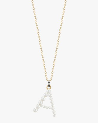 Jemma Wynne Pearl and Diamond Initial Pendant Necklace
