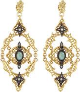 Armenta Old World 18k Open-Scroll Mesh Earrings w/ Moonstone & Diamonds