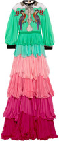 Gucci Velvet-trimmed Embellished Tiered Silk-chiffon Gown - Light green