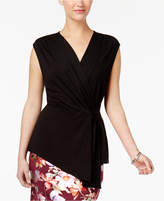 NY Collection Faux-Wrap Top