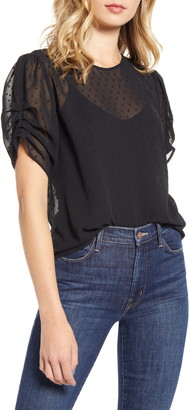Chelsea28 Ruched Sleeve Swiss Dot Top