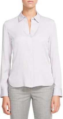 Theory Classic Fitted Collared Silk Shirt