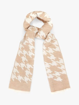 Phase Eight Large Houndstooth Print Scarf, Ivory/Camel