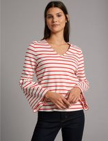 Marks and Spencer Striped V-Neck Long Sleeve T-Shirt