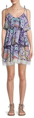 HEMANT AND NANDITA Multicolor Bohemian-Print Tier Shift Dress