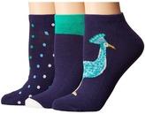 Kate Spade Regal Peacock 3-Pack No Show Women's No Show Socks Shoes