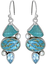 Sterling Silver Blue Copper Turquoise Apatite Pearl Blue Topaz Earrings