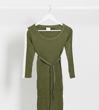 Mama Licious Mamalicious stripe sleeve jumper dress in khaki