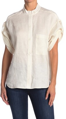 Equipment Drace Cuffed Linen Blouse