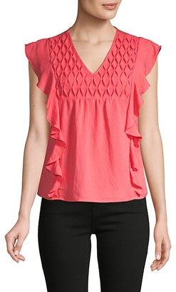 Cliche Flutter-Sleeve Cotton-Blend Top