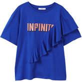 MANGO Ruffled message t-shirt