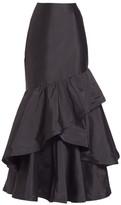 Teri Jon By Rickie Freeman Long Ruffle Taffeta Skirt
