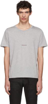 Saint Laurent Grey Rive Gauche Logo T-Shirt