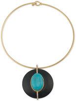 Lauren Ralph Lauren Gold-Tone Turquoise-Look and Wood Pendant Necklace