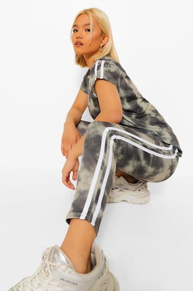 boohoo Petite Tie Dye Side Stripe Detail Legging Co-Ord