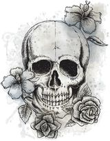 York Wallcoverings Neutral Floral Skull Peel and Stick Giant Wall Decal