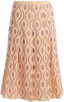 Marni Embroidered-eyelet A-line midi skirt