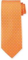 Salvatore Ferragamo Neat Gancini-Print Silk Tie, Orange