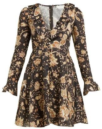 Zimmermann Veneto Floral-print Linen Sundress - Womens - Brown