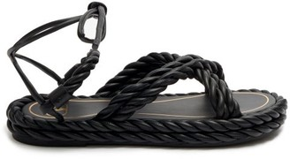 Valentino The Rope Ankle-tie Leather Sandals - Black