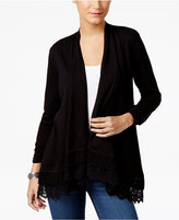 Style&Co. Style & Co Open-Front Crochet-Hem Cardigan, Created for Macy's