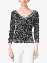 Michael Kors Tweed Boucle V-Neck Sweater
