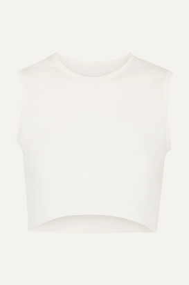 Live The Process Cropped Cotton And Cashmere-blend Top - Ivory