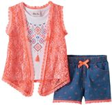 Little Lass Toddler Girl Tassel Tank Top, Lace Vest & Printed Shorts Set