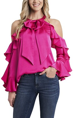 CeCe Long Sleeve Cold Shoulder Ruffled Blouse (Aurora Pink) Women's Clothing
