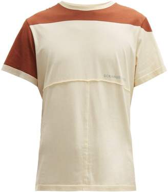 Eckhaus Latta Lapped Logo-print Cotton-jersey T-shirt - Mens - Brown White