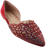 Red Embellished Dolly D'Orsay Flat
