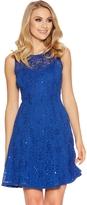 Quiz Royal Blue Sequin Lace Skater Dress